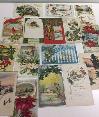 Antique Greeting Postcard Lot of 16 Christmas New Years Birds Snow Scenes