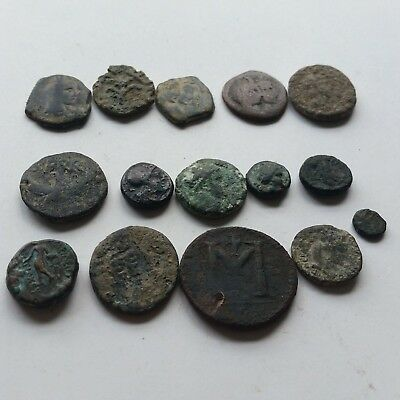 A9 Lot of 14 ancient Greek Roman Nabatean Byzantine coins