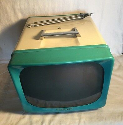 """Vintage 1950s General Electric GE 14"""" Portable TV 14T017 UHF VHF TURQOISE blue"""