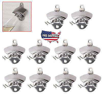 10 pcs NEW Stainless Steel silver Wall Mount Beer soda Bottle Opener with Screws
