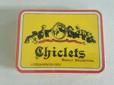Vintage CHICLETS GUM ADVERTISING TIN SEALED WITH 6 (12 PIECE) PACKS OF GUM  1994