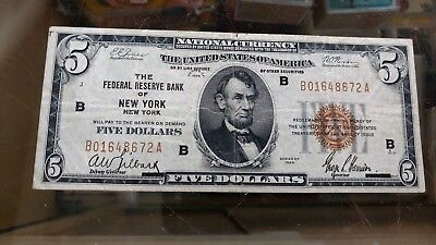 $5 Dollar 1929 New York Federal Reserve National Currency Bank Note Bill Lincoln