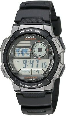 Casio Men's AE1000W-1BVCF Silver-Tone And Black Digital Sport Watch With Black
