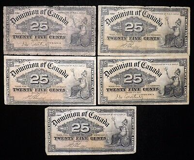 Lot of 5 1900 Canada 25 Cent Paper Notes  Circulated