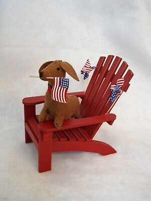 Dachshund Red Brown Patriotic 4Th Of July Memorial Day  Decor Felt Sculpture