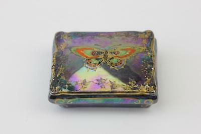 CROWN DEVON FIELDINGS RURAL LUSTRINE MINIATURE TRINKET BOX WITH BUTTERFLY c1930