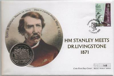GUERNSEY: 2001 Dr.Livingstone 1 Crown Commemorative Coin Cover - No.148 (16048)
