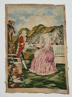 Stunning Antique Victorian needlepoint embroidery panel sample
