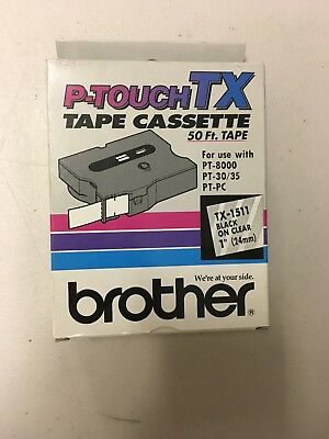 """P-Touch Tape Cassette 50 Ft. Tape TX-1511 1"""" Black On Clear Brother"""