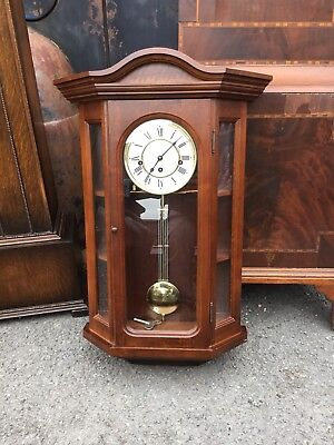 Franz Hermle Mahogany Case Westminster Chiming Wall Clock