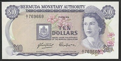 Bermuda $10 1978, P30a, AU! High value note & Free registered shipping!
