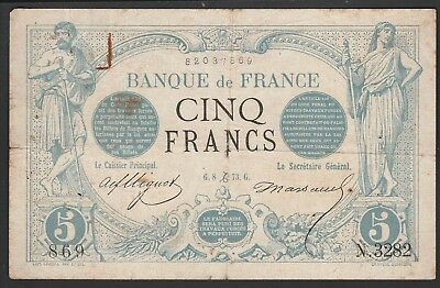 France 5 francs 1873, P60, High value VF quality paper but w/ tears & pinholes