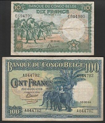 Belgian Congo P14 and 17b, High value lot in acceptable condition. Make an offer