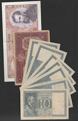 Italy collection of 5 Pick var. incl. 10000 lire 1973 & 5 consecutive UNC P25b!