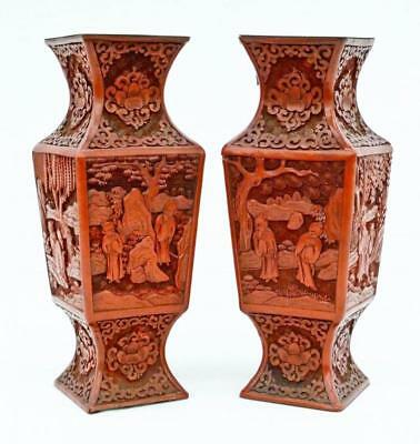 Pair Antique Chinese Carved Cinnabar Gu Form Vases Lot 509