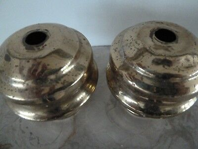 A pair of Genuine Antique Spun Brass Post Ends for a  Brass Bed 60mm.