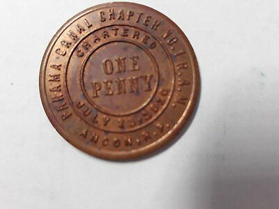 PANAMA CANAL MASONIC TOKEN RARE ANCON No 1 R.P CHARTERED JULY 23 1910 RAM RARE
