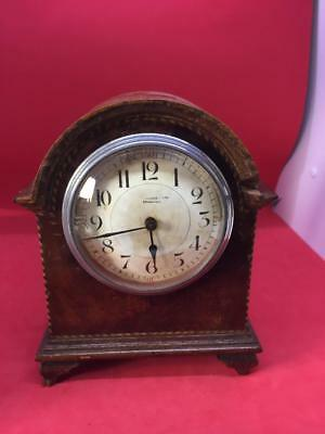 ANTIQUE MAHOGANY MANTLE CLOCK with FRENCH MOVEMENT