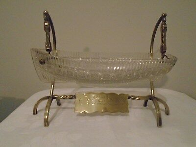Rare Cut Glass And Silver Plated Bowl Modelled As Boat - Irish - Strabane Shows