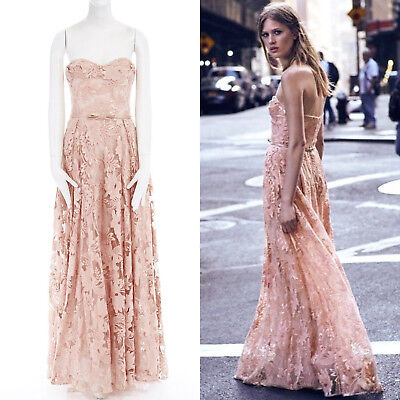 4b089bc5 new MARCHESA NOTTE nude pink sequins embroidery lace belted gown dress US6 M