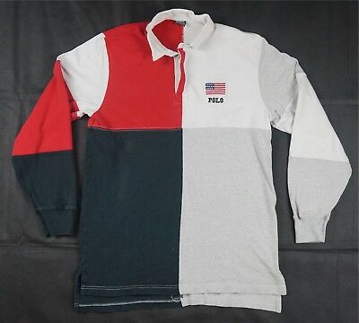 fedb6a9b85c Rare VTG POLO RALPH LAUREN Spell Out Flag Patch Color Block Rugby Shirt 90s  XL