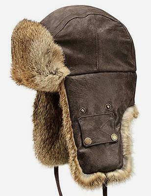 Stetson Starkville Rabbit Fur Trapper Hat Brown Leather Medium NEW NWT STW91 0db236efa87