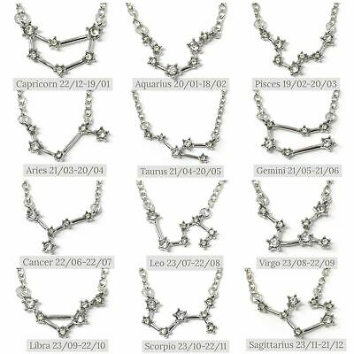 925 Silver Plt / Gold Plated Gem Zodiac Necklace Star Sign Horoscope Astrology A