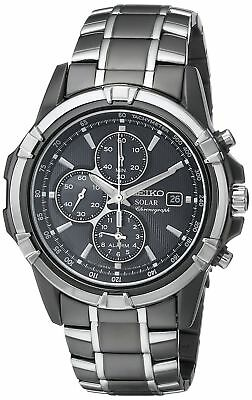 NEW* Seiko SSC143 Men's Solar Dress Chronograph Black Dial Two-Tone Watch