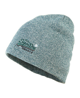 New Mens Superdry Basic Tonal Embroidery Beanie Highland Green Twist One Size