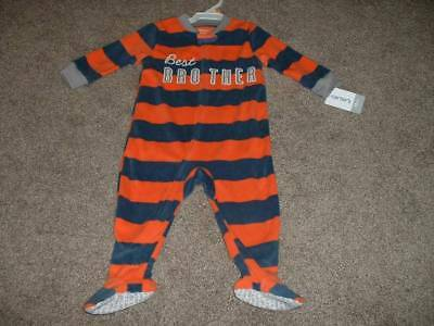 b457800fbbac CARTER S BABY BOY Best Brother Fleece Zip Pajamas Sleeper Size 12 ...