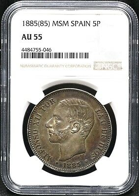 1885(85)-Msm Ngc Au-55 Five 5 Pesetas Spain