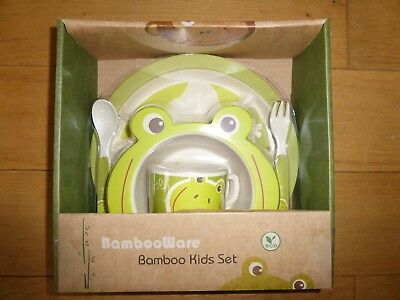 Kids Eco Friendly Bamboo Fibre Tableware Lunch Dinner Set Picnic Dining 5Pcs