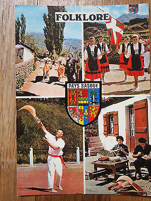 CPA France folklore pays basque 1982