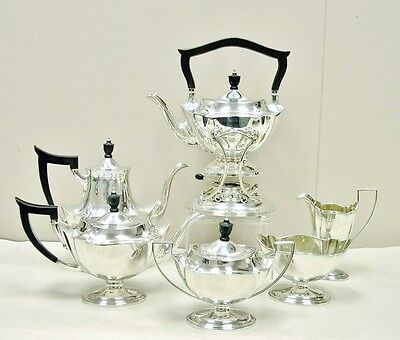 Gorham Sterling Silver Plymouth 7 Pc 94.85 OZT Tea Coffee Set & Kettle & Stand