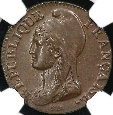 L'an 4(1795-1796)A Ngc Ms-63 Bn Five 5 Centimes France