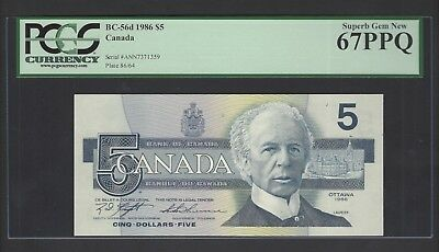 Canada  5 Dollars 1986 BC-56d Uncirculated Graded 67