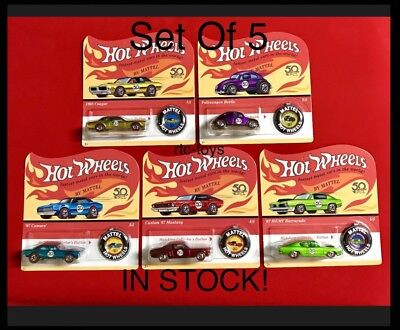 Hot Wheels 50th Anniversary Redline Set Of 5 ,Camaro,Mustang,Beetle, 2018