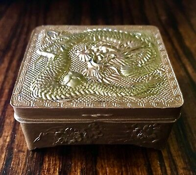 Antique Japanese Bronze Mixed Metal Dragon Trinket Snuff Jar Box