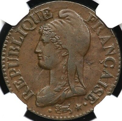 L'an 8W (1799-1800) Ngc Au-55 Five 5 Centimes France
