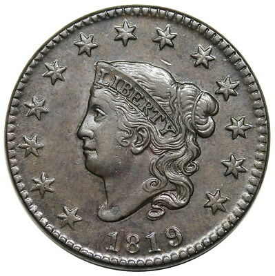 1819 Coronet Head Large Cent, Small Date, N-6, nice XF-AU