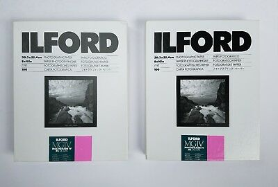 "2 Boxes 100 Ilford MGIV Multigrade IV RC Deluxe 8x10"" Glossy Photographic Paper"