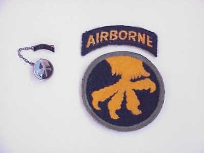 ORIG WWII 17th Airborne Division Patch (NO GLOW) & Tab w/STERLING Sweetheart Pin