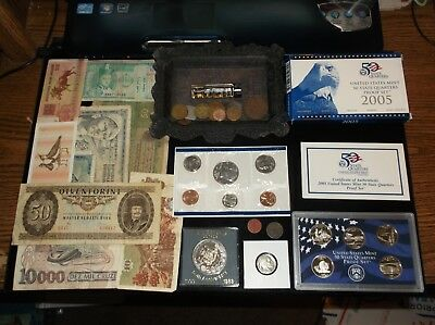 JUNK Drawer Alaska+Proof Coins+Mint+Old Coin+24k Gold Flake+Foreign Money Lot