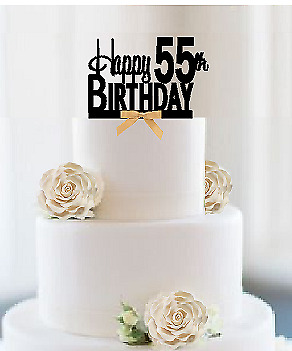 GOLD GLITTER HAPPY 55th Birthday Cake Topper,Hello 55,Cheers to 55 ...
