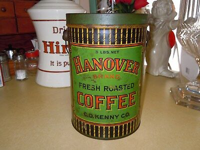 """Vintage Slip Lid """" Hanover """" 3# Coffee Tin Can Pail By C. D. Kenny Co. - All Tin"""