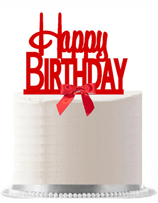 Happy Birthday Red Elegant Cake Decoration Cake Topper - Red Bow