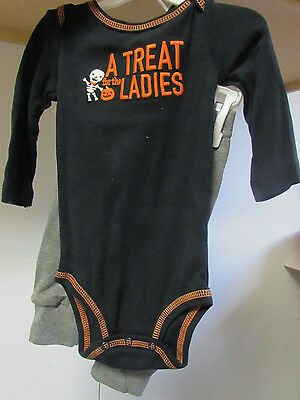 New Carter's 2 Pc A TREAT FOR THE LADIES Outfit PUMPKIN on Bottom! Size 6 month