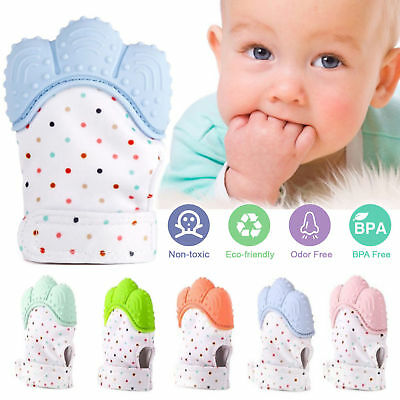 Baby Silicone Mitts Teething Mitten Glove Candy Wrapper Sound Teether Toy Gift #
