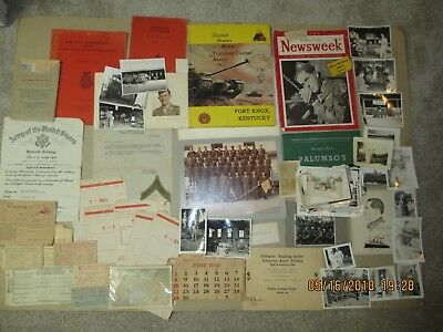 Lot Of Us Army Papers Including Discharge, Photos, Blank  V Mail, Ration Books