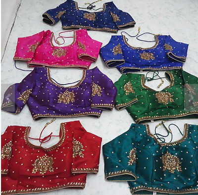 USA Saree blouse Ready made stone work embroidered